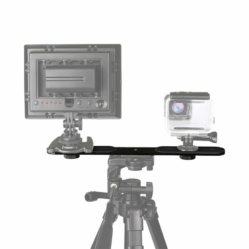"1/4"" Dual Camera Mount Flash Bracket Extension Bar Arm Tripod Holder MIC LED"