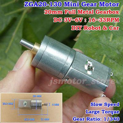 Dc3v 5v 6v 33rpm Low Speed Mini 20mm Full Metal Gearbox Gear Motor Diy Robot Car
