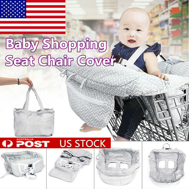 Foldable Baby Shopping Trolley Cart Seat Cushion High Chair Cover Safe Protector