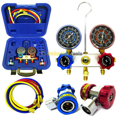 Ac a c manifold gauge set w hose adjustable couplers aluminum r134a