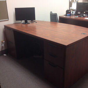 Bow front Double Pedestal Office Desk (71 X 36) and Credenza.