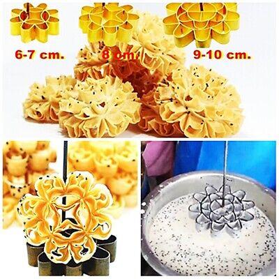 Thai Traditional Dessert Cookies Kitchenware , Brass Mold Lotus Flower Dok Jok