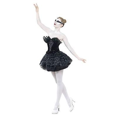 Erwachsene Damen Pailletten Gothic Schwarz Swan Ballerina Tutu Kostüm Ball