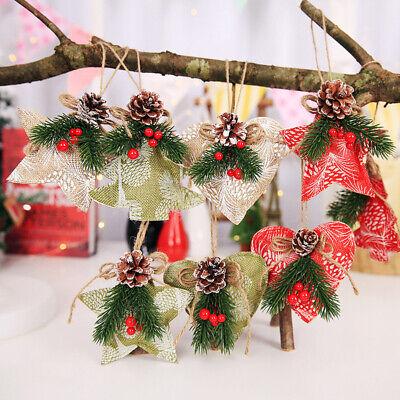 Pine Cone Christmas Tree Ornaments (3Pcs Artificial Pine Cone Needle Branch Berry Christmas Tree Xmas Hanging Decor)