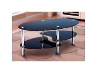 Free collection Black glass coffee table