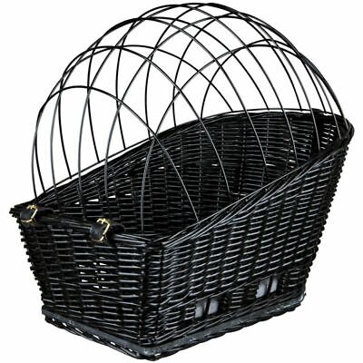 Rear Mounted Bike Basket Carrier Wicker Bicycle Rack Dog Pet Wire Mesh Cushion