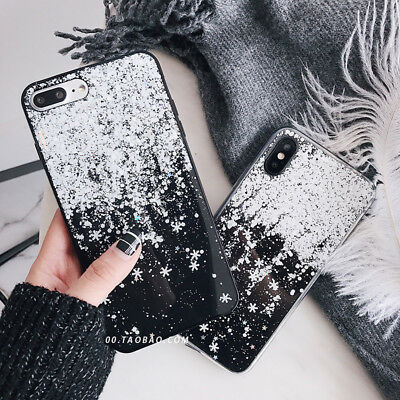 Cute Bling Glitter Snowflake Winter Soft case Cover For iPhone X XS Max 8 7 Plus](Cute Snowflakes)