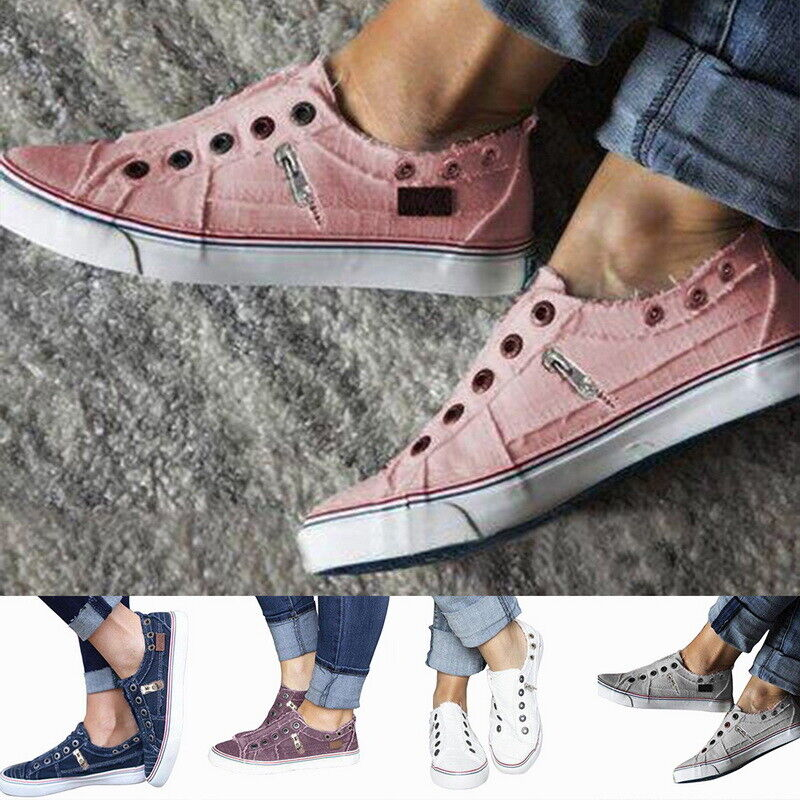 NEW Womens Canvas Loafers Pumps Flatform Slip On Sneakers Casual Ladies Shoes US 1