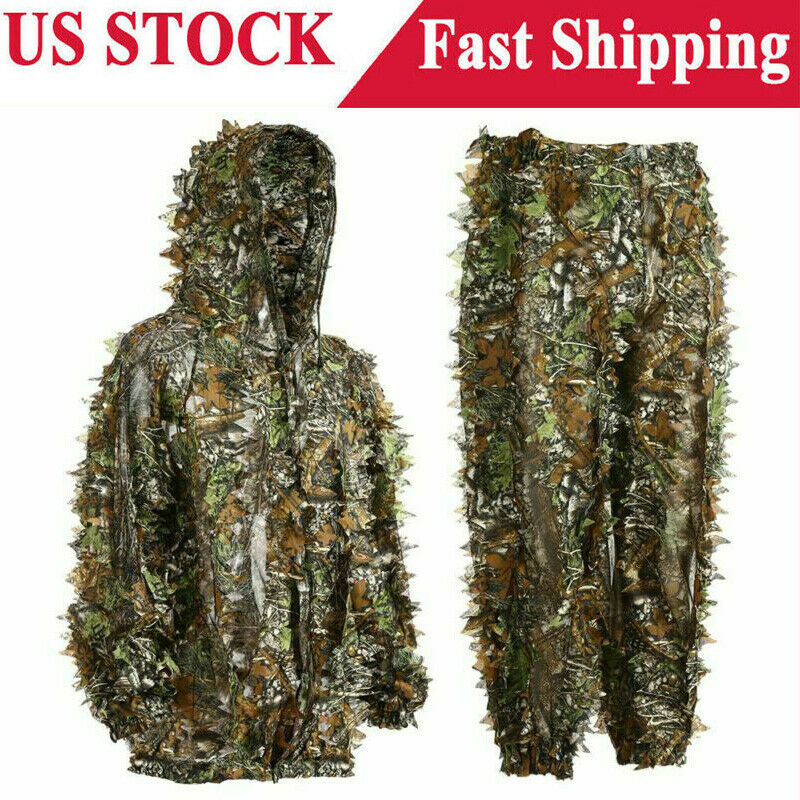 Outdoor Camo Ghillie Suit Set Leafy Camouflage Clothing Jungle Woodland Hunting