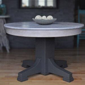 Table de cuisine ronde, antique, chêne, relooké