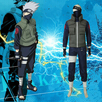 Naruto0 Hatake Kakashi Cosplay Kostüm Zubehör Stirnband Full Set Hallowee Outfit