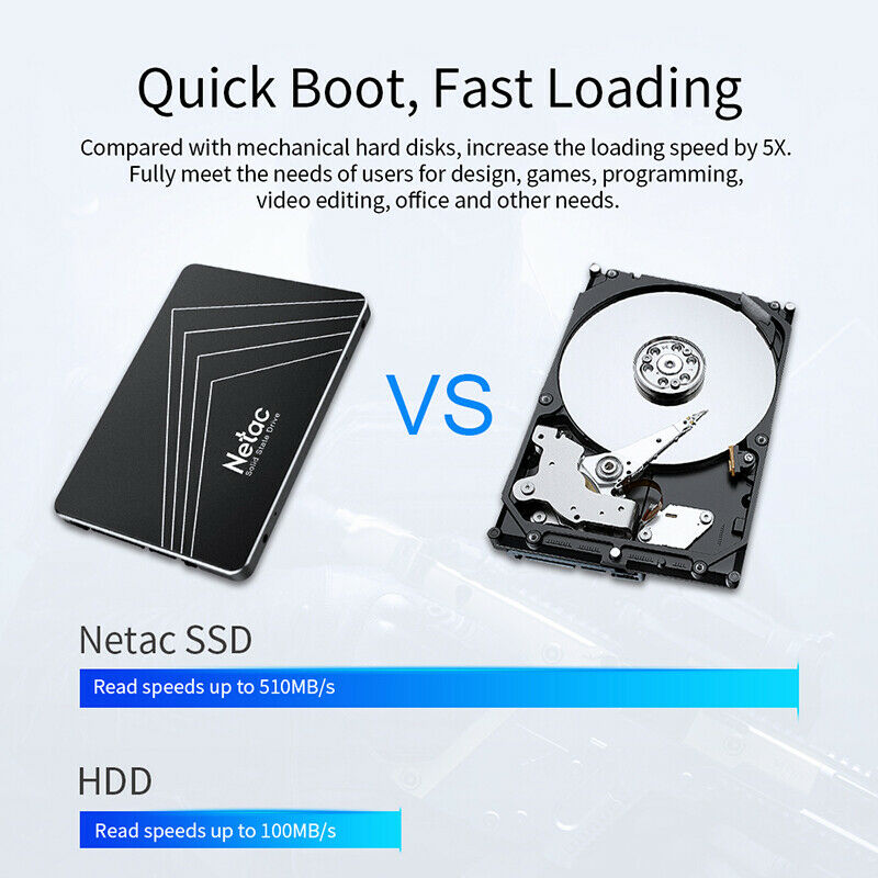 """Netac 2.5"""" SSD SATA III 6Gbps 120GB-1TB Internal Solid State Drive Up to 500MB/S"""