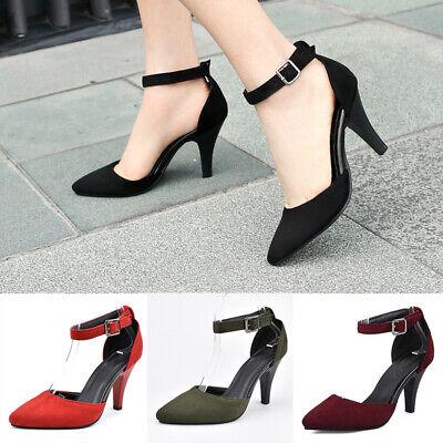 Buckle Strap High Heel (Women Buckle Ankle Strap D'Orsay Pumps High Heel Ladies Pointed Toe  Dress)