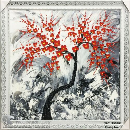 Posters, cross stitches, beautiful scenery, antique peach branches in oil painti