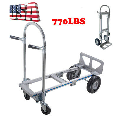 2 In 1 770lbs Cart Dolly Folding Foldable Moving Warehouse Push Hand Truck Usa