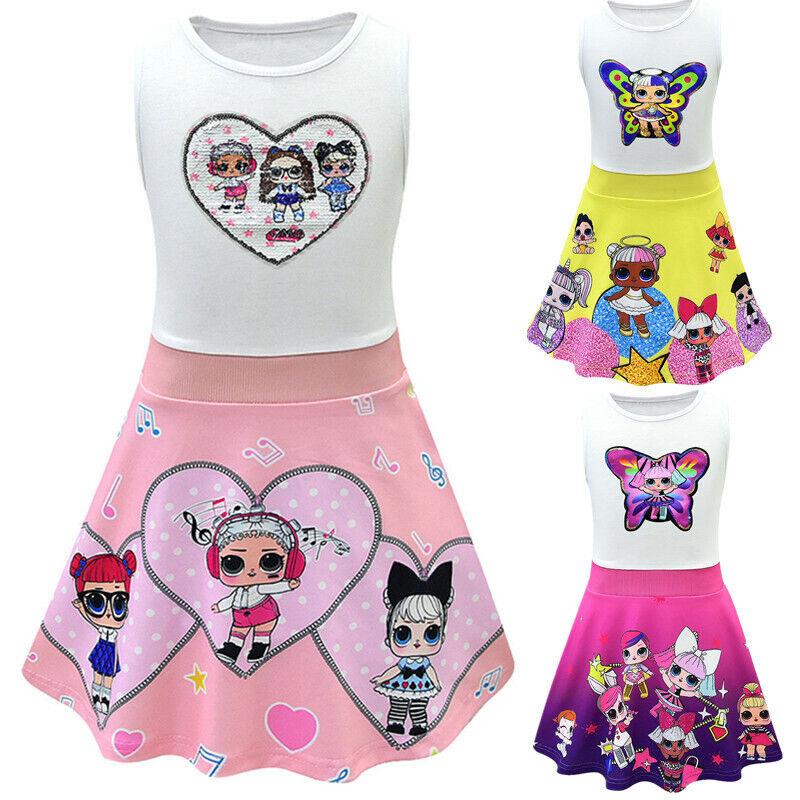 LOL Surprise Girl Doll Dress Cartoon Birthday Holiday Party Fancy Skater Dresses