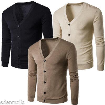 Deep V-neck Cardigan (MEN'S DEEP V-NECK BUTTON FRONT CARDIGAN SWEATER POCKETS M-2XL)