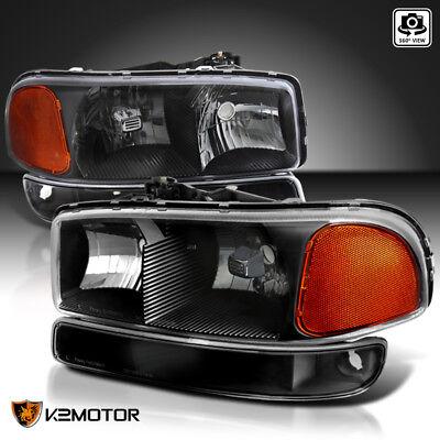 1999-2006 GMC Sierra Yukon Black Headlights+Bumper Signal Lights Left+Right 4PC