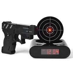 Gun Alarm Clock Shoot Target Shooting Lcd Laser Recordable Pistol Kids Game Gift