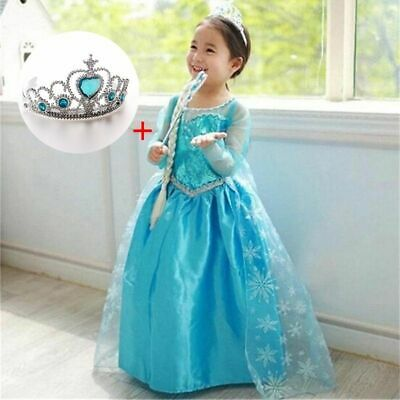 Baby Girl Princess Elsa Dress Clothing Wear Cosplay Elza Costume Halloween Crown