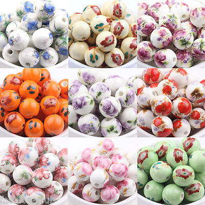 10pcs Round Floral Chinese Porcelain Loose Spacer Beads Jewelry Makings 12mm - Floral Beads