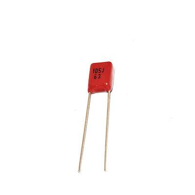 10x Cbb Metallized Film Capacitor Kit 63v 105j 1uf 0.2 For Diy