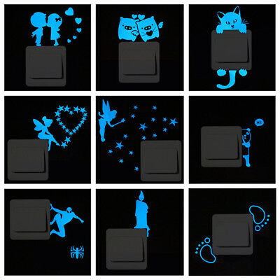 Cartoon Blue-light Switch Sticker Small Glow in the Dark Removable Home Decor (Glow In The Dark Lighting)