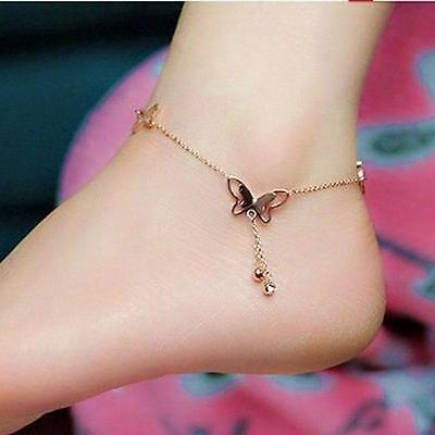 Fashion Women 18K Rose Gold Plated Anklet Butterfly Charms Chain Ankle Gift