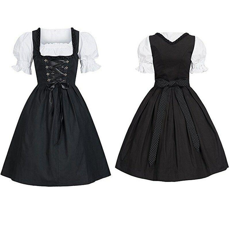 Women German Dirndl Maid Dress Oktoberfest Beer Cosplay Costume Bavarian Soft