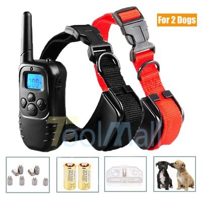100 level Dog Training Shock Collar Electric LCD Behavior Corrector for 2 Dog US