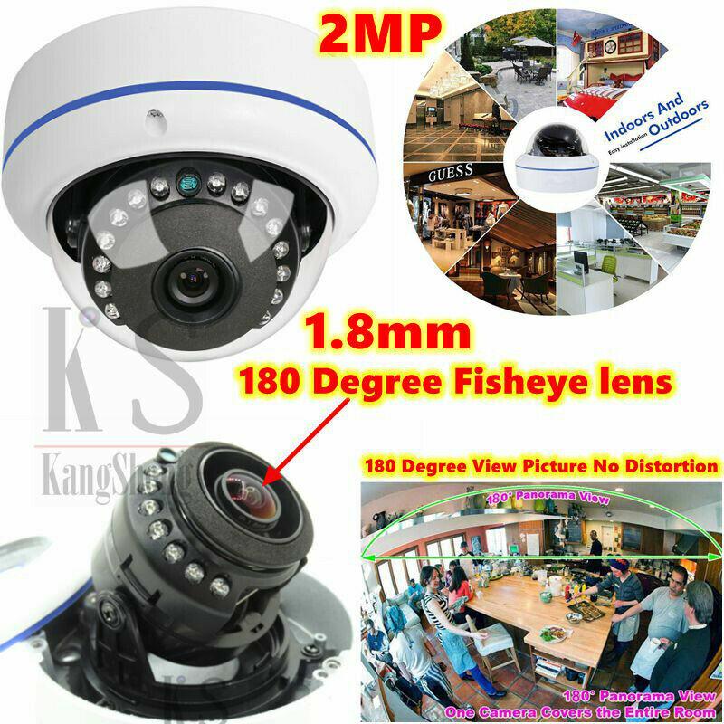 2.0MP 1080P AHD TVI CVI Security Camera 180 Degree Wide Angle Fisheye Dome IR HD