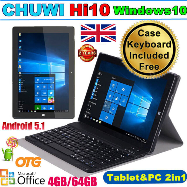 CHUWI 10.1'' 4/64GB Windows10 Android 5.1 Ultrabook QuadCore Tablet PC +Keyboard