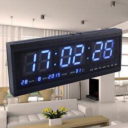 Large Jumbo Digital LED Wall Clock Desk Alarm Calendar Temperature Date Blue