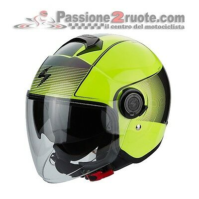 Casco jet moto Scorpion Exo City Wind giallo fluo nero visierino da sole (Wind City Sole)