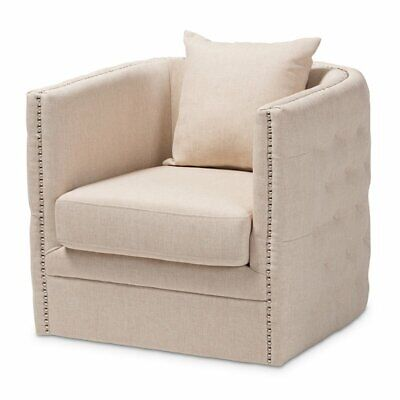 Baxton Studio Micah Beige Fabric Upholstered Tufted Swivel Chair