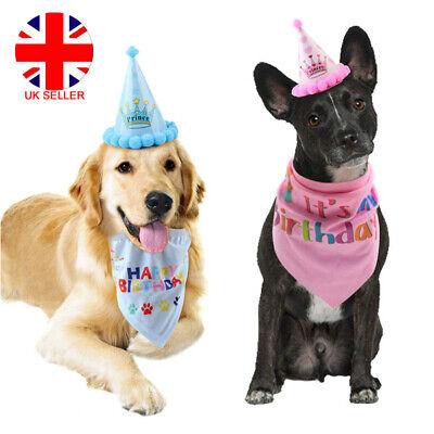 Pet Dog Cat Birthday Hat Headwear Bandana Neckerchief Ties Party Fancy Dress (Fancy Hunde Kostüm)