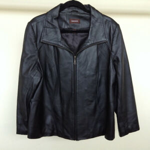 Danier Black Leather Jacket – Size 16 – Almost Brand New