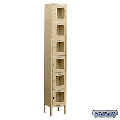 Salsbury See-through Metal Locker Six Tier Box Style 1 Wide 6 High 15 Deep Tan