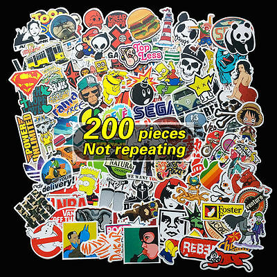 vinyl decal graffiti sticker bomb laptop waterproof stickers skate 200pcs random