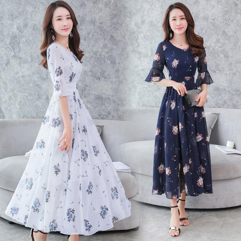2020 New Fashion Summer Korean Beautiful Temperament Chiffon Printing Dress Ebay