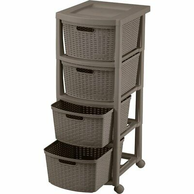 Rimax Wengue Four Drawer Rolling Cart
