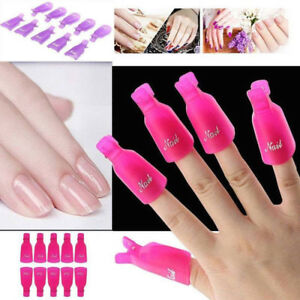 Multiple 10PC Plastic Nail Art Soak Off Clip Cap UV Gel Polish
