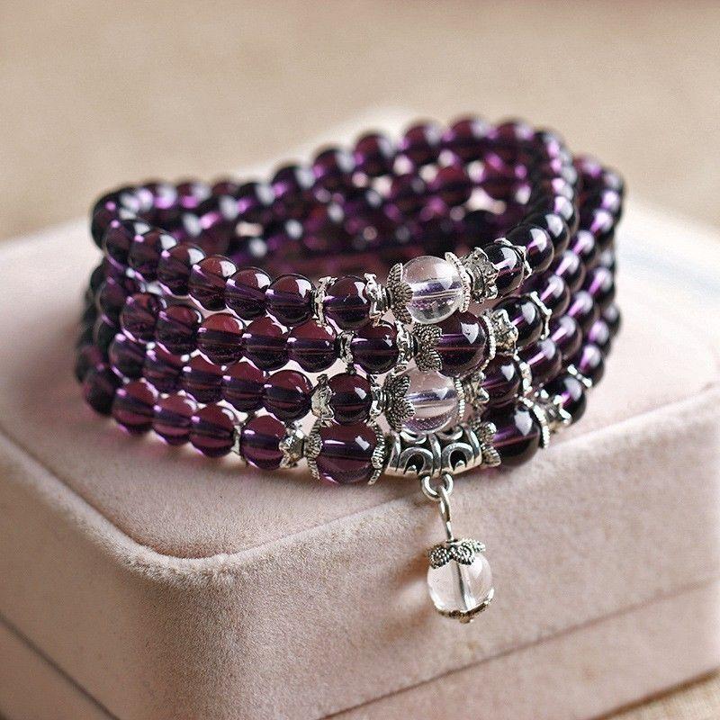 Cheaply elegant fengshui Wristband 6mm Amethyst 108 Beads Mala Purple Bracelet