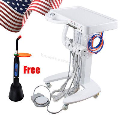 Portable Dental Delivery Unit Cart Treatment Desk Handpiece Syringe Curing Light