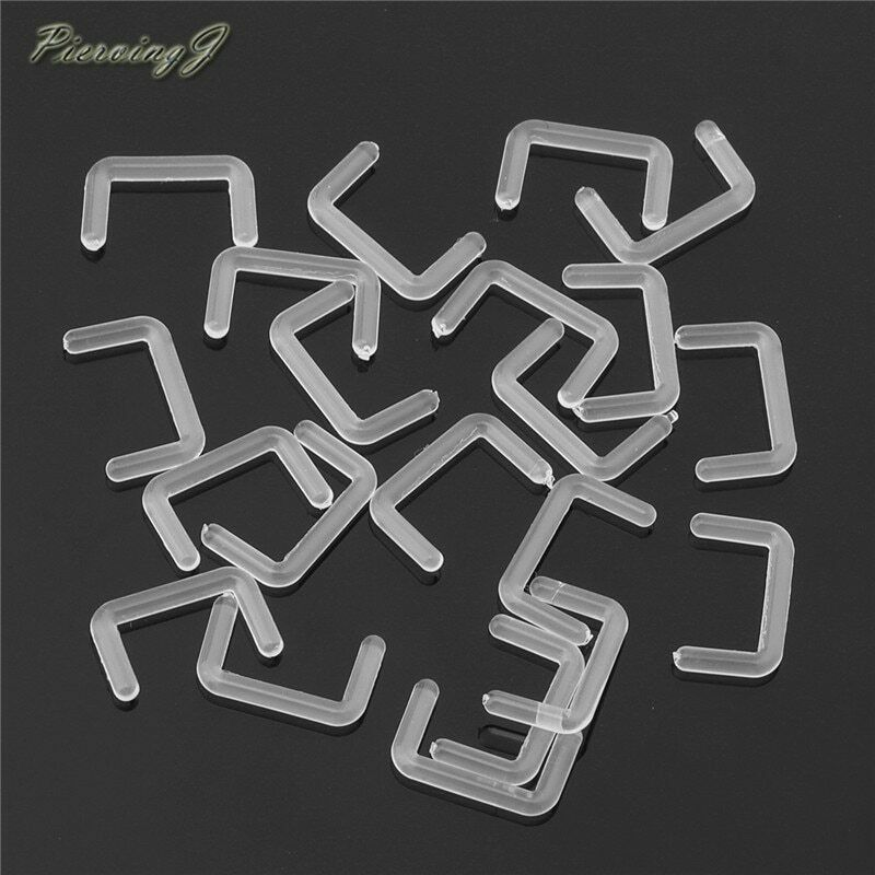 Clear Septum Nose Retainer Glass Pyrex Staple 16G 14G