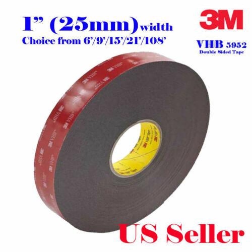 "3m 1"" X 6/9/15/21 Vhb Double Sided Foam Adhesive Tape 5952 Automotive Mounting"