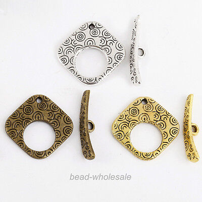 Lots 10 Sets Tibetan Antique Silver Square Shape Toggle Clasps Findings 20x20mm Antique Silver Toggle Clasp