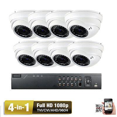 8CH HDTVI 1080P 4-in-1 Ture 2.6MP 2.8-12mm Varifocal C66V Security Camera System