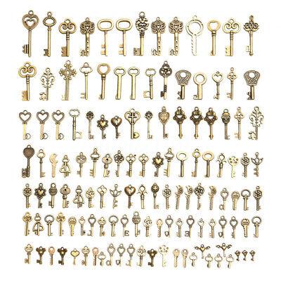 128x Large Skeleton Keys Antique Bronze Vintage Old Look Wedding Decor Pendant