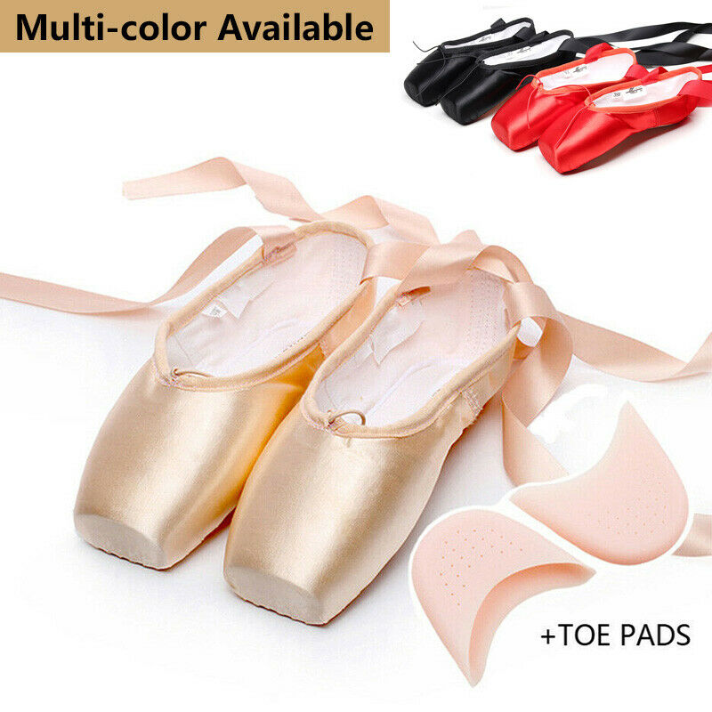 Pink Professional Pointe Ballet Dance Shoes Satin With Toe Pads Black Women soft
